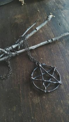 Made from willow branches, which I hand picked in my meadow and set in copper, this raw and rustic pentacle necklace is a perfect addition to your