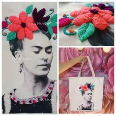Taller de iniciación de bordado mexicano + sublimación textil En este taller tan especial aprenderás la técnica de sublimado textil artesanal para luego bordar una corona de flores sobre el diseño de Frida Khalo, aplicando puntos de relleno con