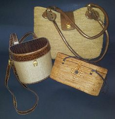 3 Vintage Woven Basket & Raffia Purses Etienne Aigner^TLC Bali^ Anabell  Ingall #EtienneAignerTLCBaliAnabellIngall #BucketPurseBasketPurseRaffiaPurse - SOLD