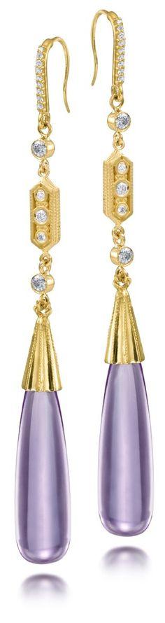 SCOTT MIKOLAY | Cabochon Amethyst and Diamond Earrings from the Aragon Collection | {ʝυℓιє'ѕ đιåмσиđѕ&ρєåɾℓѕ}