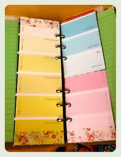 The Organised Artist blog . Paint chip bookmark/page marker for filofax retro bloom personal . filofax decorating /personalisation
