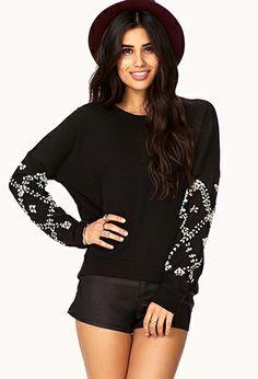 Glam Rhinestoned Sweatshirt   FOREVER 21 - 2000075852