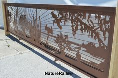 Custom #railing in copper powder coating with birds diving into the water. More…