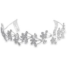 Gatsby Inspired Crystal Flower Leaf Vines Bridal Tiara Headband (€21) ❤ liked on Polyvore featuring accessories, hair accessories, jewelry, crown, hair, clear, bride hair accessories, white flower crown, hair comb and flower crown