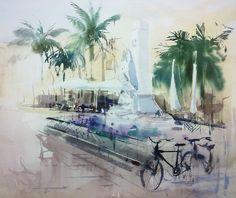Cesc Farré Gouache Painting, Watercolor Paintings, Watercolors, Watercolor Landscape, Watercolor And Ink, Unique Buildings, Silhouette, Palm Trees, Art Gallery