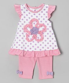 Another great find on #zulily! Pink & Purple Polka Dot Flower Tunic & Pants - Infant #zulilyfinds