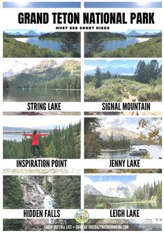 These are the 6 best Grand Teton National Park that are short, easy, and perfect for the family! They offer beautiful mountain and river views, and are all pretty close to eachother too! Check out Grand Teton next time you're in Jackson Hole! Usa Roadtrip, Travel Usa, Us National Parks, Grand Teton National Park, Yellowstone National Park, Death Valley, Empire State Building, Nationalparks Usa, Grand Canyon