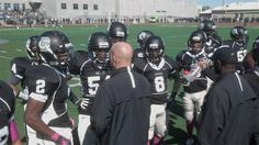 Harrisburg getting coached up in between the 1st and 2nd quarters Saturday during their game vs. Central Dauphin. - 10.13.12