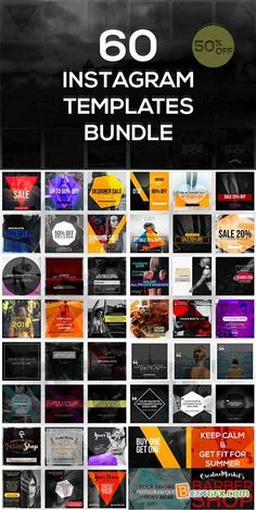 Creativemarket 60 Instagram Templates Bundle 483862