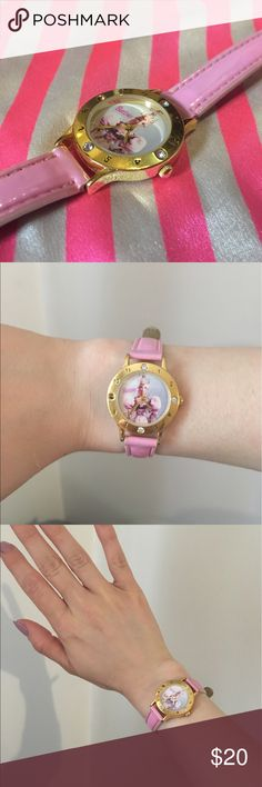 Vintage Pink Barbie Watch made in Japan Super cute vintage Barbie watch! Gold tone. Made in Japan. Watch face is missing one small rhinestone, and pink patent leather band has some wear (see photos). I've never put a battery in to see if it works, but I believe it just needs a new battery. I have VERY small wrists, and this fits me ok so I think it may be girls size and not women's. Perfect for the pink loving girlie girl in your life 💕 Barbie Jewelry