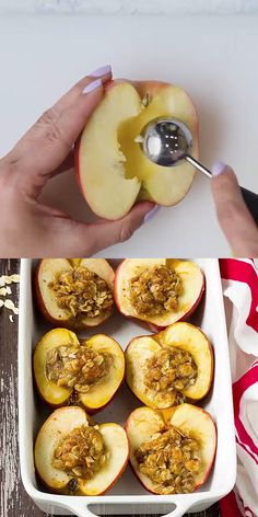 This Baked Apples Recipe is amazing and they make your home smell great too. They are stuffed with a wholesome mixture of oats, coconut sugar, and cinnamon. # Food and Drink videos recipes BAKED APPLES Fruit Recipes, Baking Recipes, Dessert Recipes, Cinnamon Recipes, Apple Recipes For Kids, Brie Cheese Recipes, Homemade Desserts, Health Recipes, Cinnamon Apples