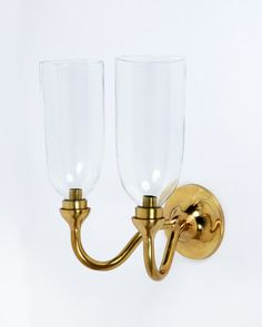 Curved Double Arm Wall Light Rose Uniacke, Curved Walls, Glass Shades, Candle Sconces, Solid Brass, Furniture Decor, Clear Glass, Wall Lights, Arms