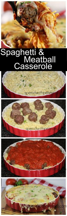 Cheesy and Amazing Baked Spaghetti & Meatball Casserole! My whole family LOVES this dish!!