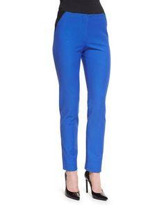 Armani Collezioni Two-Tone High-Waist Skinny Pants, Light Blue