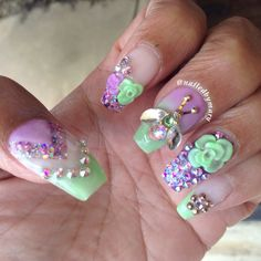Bugs flowers coffin style nails