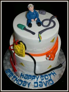 Electrician cake 60th Birthday Cake For Men, Man Birthday, Cross Cakes, Cupcake Cakes, Cupcakes, Retirement Parties, Bbq Party, Fancy Cakes, Celebration Cakes