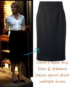 CLAIRE'S BLACK KNEE-LENGTH PENCIL SKIRT: Dolce & Gabbana Classic Cady Skirt GET THE LOOK FOR LESS: H&M Pencil Skirt NY&CO Suiting Pencil Skirt Express High Yoke Pencil Skirt <– my favorite match!  http://www.express.com/clothing/high+yoke+waist+midi+pencil+skirt/pro/7685961/cat1660010?AID=11388515&PID=2178999&SID=1402020992&CID=550&pubname=ShopStyle.com&pubID=2178999