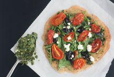 Socca Pizza with Basil Arugula Pesto #vegetarian #glutenfree www.80twenty.ca