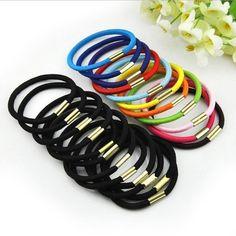 Retail Wholesale BLACK Girls elastic hair ties hair band rope ponytail Holder bracelets scrunchie