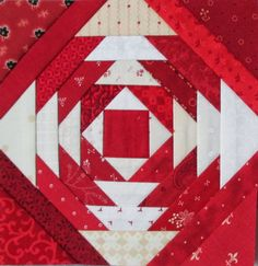 Red and white Pineapple block by Cupcakes 'n Daisies: Pineapple Quilt Finish!
