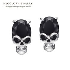 Black Red Cubic Zirconia Rock Punk Skull Skeleton Statement Stud Earrings for Women Men Gifts  New Brand Jewelry