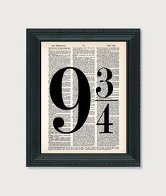 Harry Potter PRINT 9 3/4 nine and three quarters altered art dictionary page Dictionary Print