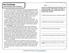 Gas Exchange. A comprehension passage and questions about how respiratory systems work. Cross-Curricular Focus: Life Science.