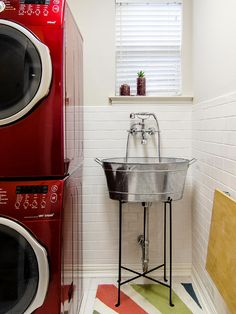 Decoration, Astonishing Dog Washing Sink With Pinch Pleat Window And Colorful Rug Also White Backsplash Tiles: Extraordinary Dog Washing Sinks In Laundry Rooms Laundry Room Remodel, Basement Laundry, Laundry Room Bathroom, Laundry Room Design, Rustic Basement, Industrial Basement, Basement Living Rooms, Modern Laundry Rooms, Basement Inspiration