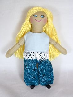 Girl Doll With Blond Hair - Toy For Kids - Handmade Rag Doll Presents For Kids, Gifts For Girls, African American Dolls, Light Blue Shirts, Dress Up Dolls, Asian Doll, Cat Doll, Doll Shop, Kids Hands
