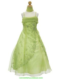 Apple Green A Line Organza Floral Embroidery Sparkles