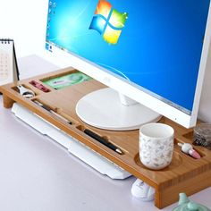 Image result for adjustable wooden monitor stand