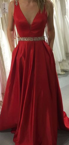 Red Prom Dress with Pockets, Back To School Dresses, Prom Dresses For Teens, Graduation Party Dresses Prom Dresses With Pockets, Open Back Prom Dresses, V Neck Prom Dresses, Prom Dresses For Teens, Long Prom Gowns, A Line Prom Dresses, Evening Dresses, School Dresses, Bridesmaid Dresses
