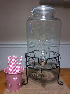 dispenser de vidrio con canilla jugos/bebidas 7 lts con base