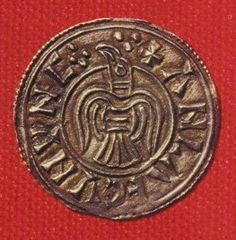 9th century coin from York. The symbol is the same as that on the raven banner of Ragnar Lodbrok's.