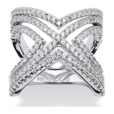 PalmBeach Jewelry 2.10 TCW Micro-Pave Cubic Zirconia Crisscross... ($70) ❤ liked on Polyvore featuring jewelry, rings, white, sterling silver rings, wrap ring, pave ring, sterling silver cubic zirconia rings and white ring