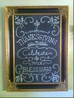 Since we are well into November, it was definitely time to change out my chalkboard canvas with some Thanksgiving art… Sorry for the . Chalkboard Canvas, Blackboard Art, Chalkboard Drawings, Chalkboard Lettering, Chalkboard Designs, Chalkboard Quotes, Chalkboard Ideas, Fall Chalkboard, Chalkboard Doodles