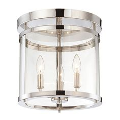 Penrose Chrome And Polished Nickel Three Light Semi Flush Savoy House Semi Flush Flush & S