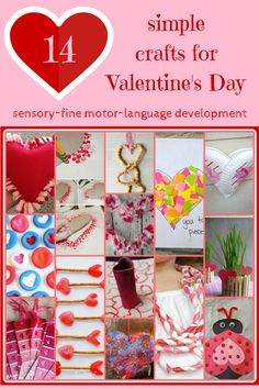 Simple Valentine's Day crafts sensory fine motor