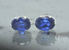 925 Blue Spinel Earrings/Spinel Studs/Spinel Jewelry/7x5mm/Oval Stud Earrings/September Birthstone/Sterling Silver/Gift for Her/Fashion/E24