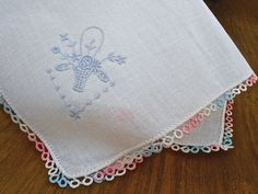 Vintage Hankie White Linen Embroidered Flower by PLANETDIGS2