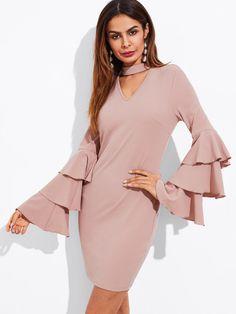 Tiered Fluted Sleeve Choker Neck DressFor Women-romwe Pink Long Sleeve Dress, Ruffle Sleeve, Ruffle Dress, Dresses With Sleeves, Pink Dress, Flutter Sleeve, Dress Long, Choker Neck Dress, Mini Club Dresses