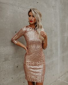 Sabine Sequin Dress - Rose Gold