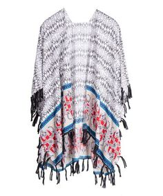 Love this White & Gray Arabesque Fringe-Hem Kimono - Women on #zulily! #zulilyfinds