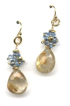 One of my favorite earrings with rutilated quartz, blue topaz any tiny vermeil chunky beads.  Such a pretty store sample, a customer HAD to have it.  www.thebeadgallery.com