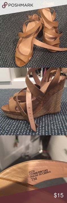 Tan wedges Worn multiple times but still in good condition Charles David Shoes Wedges
