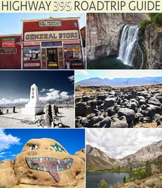 Roadtrip from LA to Tahoe: Highway 395 road trip guide. This guide will show you where all of the best stops are from waterfalls and hot springs to hikes and natural wonders on one of California's best road trips. Bishop California, California Travel, June Lake California, Bridgeport California, Tulare California, Mammoth Lakes California, Northern California, Places To Travel, Sodas