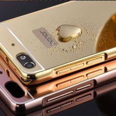 Case For Huawei Honor 4C Plating Mirror Metal Aluminum Bumper + Acrylic Hard Back Cover Capas For Huawei 4C Slim Phone Bags Case #Affiliate