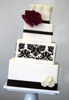 Black and White Wedding Cake. Just need yellow accents instead of burgundy