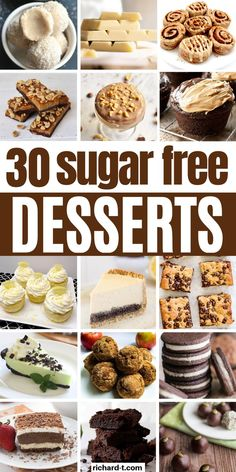 30 Easy sugar free desserts that taste sweet and delicious! These sugar FREE desserts are so amazing, you need to try them all! fruit 30 Easy Sugar Free Desserts You Wish You Made Sooner Keto Desserts, Diabetic Friendly Desserts, Health Desserts, Diabetic Recipes, Easy Desserts, Diabetic Foods, Desserts With Splenda, Desserts With No Sugar, Diabetic Sweets