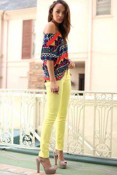 Neon yellow pants~ whoa. So many bright colors